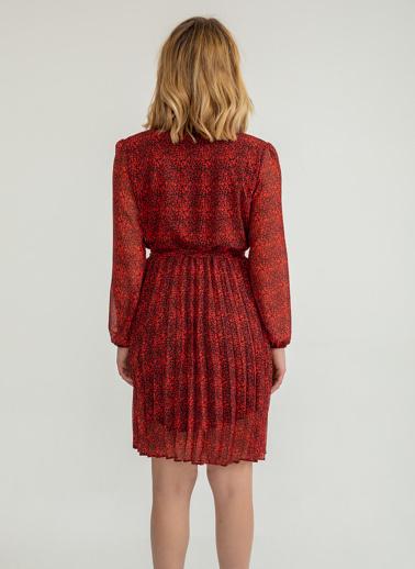 Foremia Çıtır Desen Kısa Piliseli Elbise Kırmızı